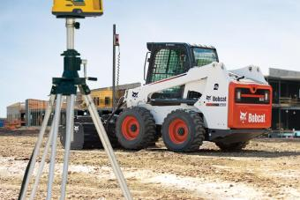 Automatic grade control is used with an Bobcat S630 skid-steer loader.