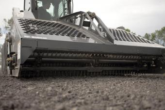 Front profile of the Bobcat landscape rake attachment.