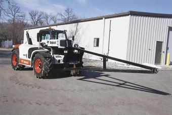 Truss boom attachment mounted to a Bobcat VersaHANDLER TTC.
