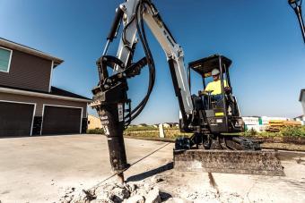 Bobcat R-Series E32 compact (mini) excavator with breaker attachment.