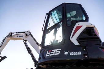 Bobcat E35 compact (mini) excavator cab.