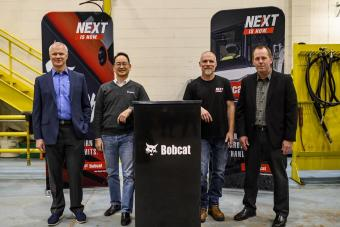 Mike Ballweber, president Doosan Bobcat North America; Scott Park, CEO Doosan Bobcat; Mike Kiefer, site operations manager, Litchfield; Jim Flynn, vice president of operations, Doosan Bobcat North America are present to mark the $26 million expansion at the Litchfield, MN, manufacturing facility.