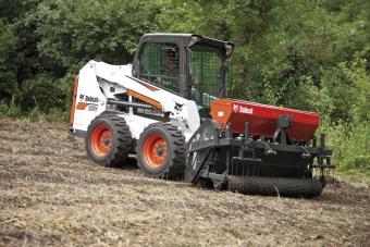 Bobcat S550 Skid-Steer Loader seeding a food plot