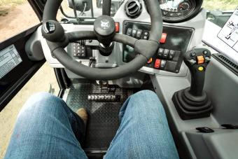The VersaHANDLER V723 telehandler cab interior.