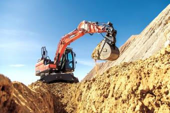 Doosan Power Tilting Coupler on Doosan Wheeled Excavator.