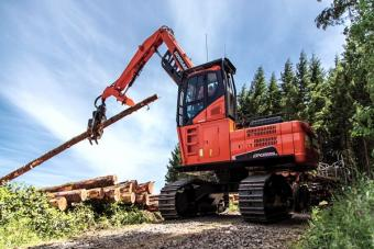 Doosan DX225LL-5 log loader selects logs to load onto a truck.