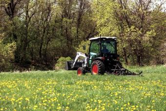 Property Owner Mowing Pasture Using CT2535 Compact Tractor With Finish Mower Three-Point Implement