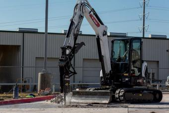 Bobcat Customer Using R2-Series E50 Compact Excavator To Break Concrete With Nitrogen Breaker