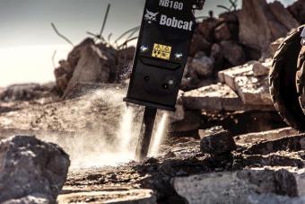 Bobcat S770 skid-steer loader and nitrogen breaker attachment.